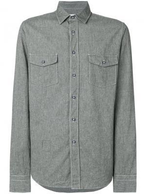 Рубашка на пуговицах Mauro Grifoni. Цвет: серый