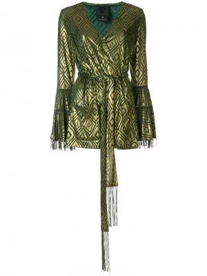 Блузка из ткани деворе с запахом Anna Sui. Цвет: металлический