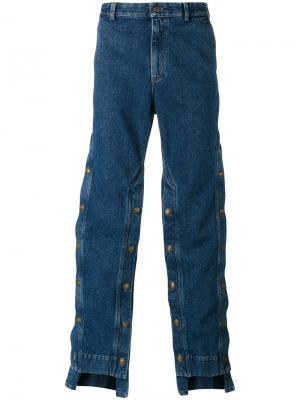 Широкие джинсы с декоративными пуговицами Y / Project. Цвет: синий