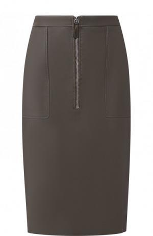 Кожаная юбка-карандаш на молнии с карманами Altuzarra. Цвет: хаки