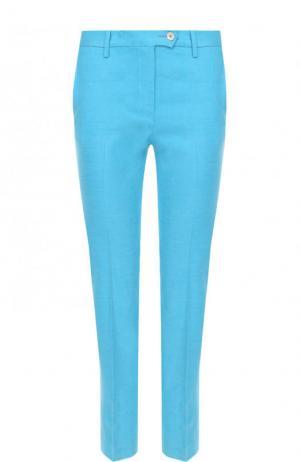 Укороченные однотонный брюки из смеси льна и вискозы Kiton. Цвет: голубой