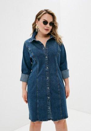 Платье джинсовое Vero Moda Curve. Цвет: синий
