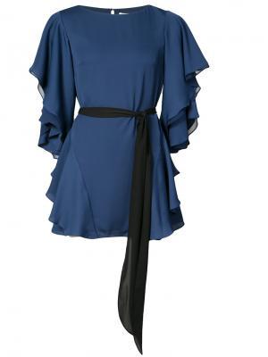 Платье с оборками на рукавах и юбке Halston Heritage. Цвет: синий