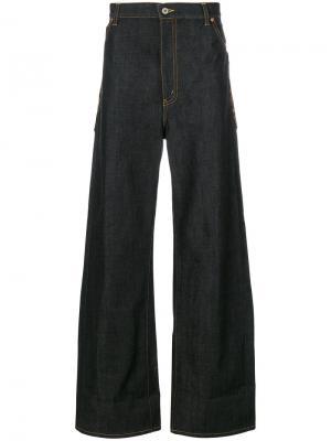Широкие джинсы с леопардовыми карманами Junya Watanabe Comme Des Garçons. Цвет: чёрный