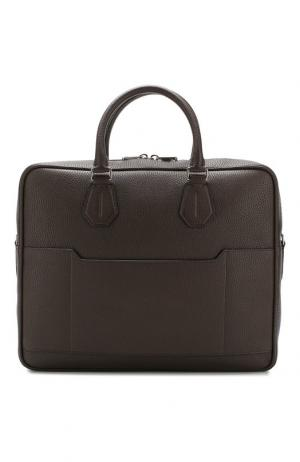 Кожаная сумка City для ноутбука с плечевым ремнем Bally. Цвет: коричневый