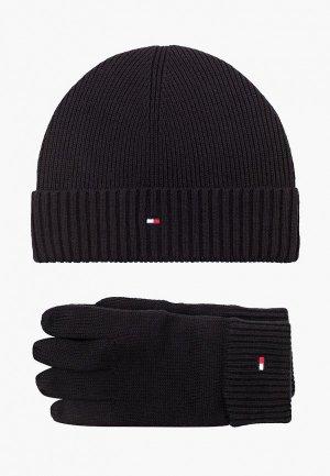 Шапка и перчатки Tommy Hilfiger. Цвет: черный