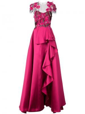 Платье Mikado Marchesa Notte. Цвет: розовый и фиолетовый