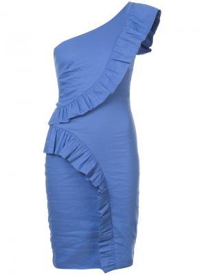Платье узкого кроя на одно плечо Nicole Miller. Цвет: синий